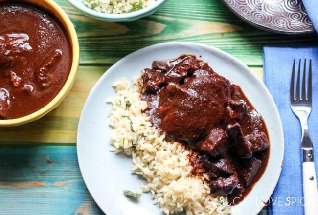 Chicken and Pork in haskap mole sauce