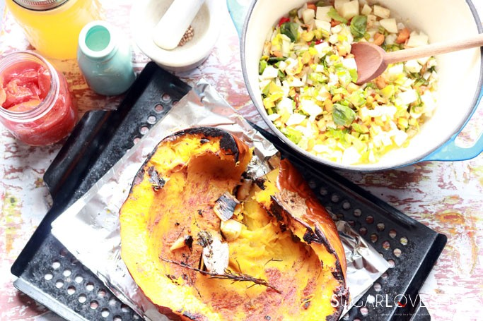 Applewood smoked pumpkin leek soup