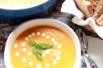 Applewood smoked pumpkin leek soup