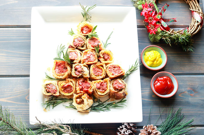 Party Pleaser Italian Sausage Rolls-shaped like a christmas tree on a plate