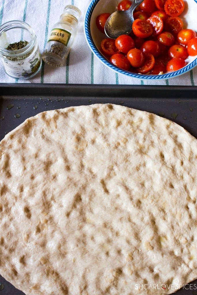 Focaccia with Cherry tomatoes and oregano