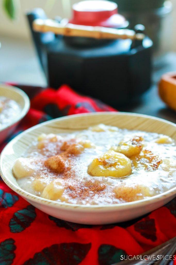 Cambodian Tapioca Banana Pudding-closeup in the bowl