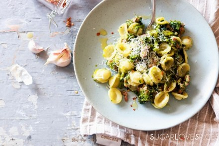 Orecchiette with Rapini and Sausage-in the plate with cheese