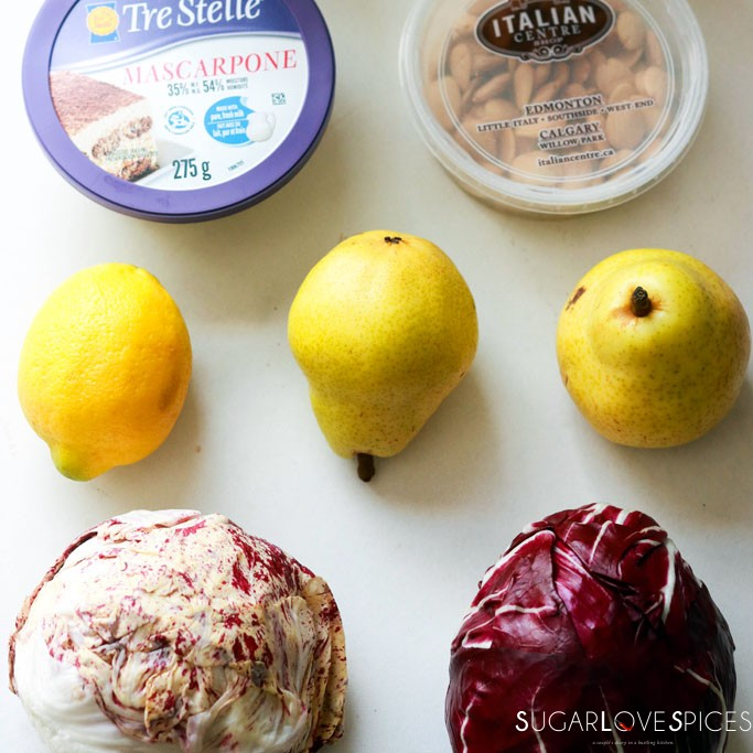 Radicchio pear fig salad with mascarpone dressing-some ingredients