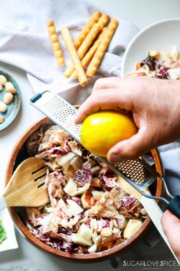 Radicchio pear fig salad with mascarpone dressing-grating lemon zest