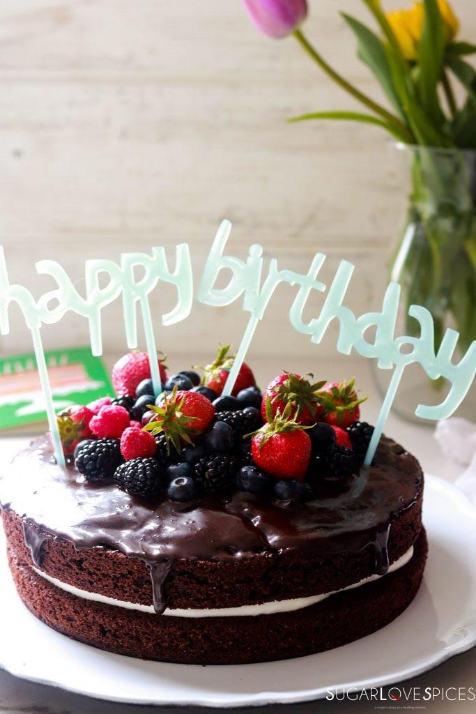 Yogurt Cream Chocolate Ganache Cake with Field Berries-happy birthday