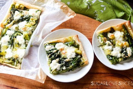 Broccolini and Potato Butter Pastry Tart-two pieces in the plates