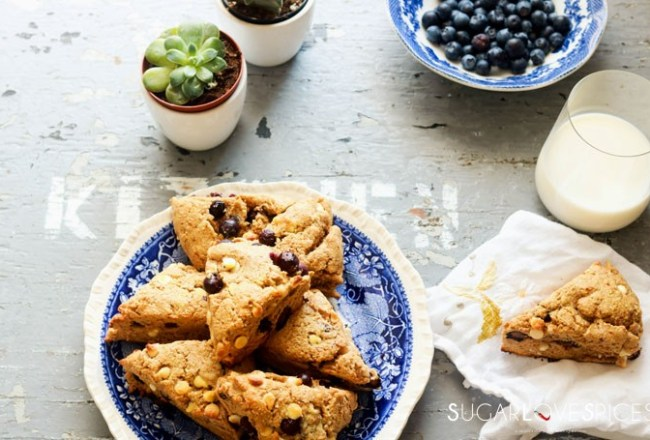 Whole Wheat Blueberry White Chocolate Scones-view from the top