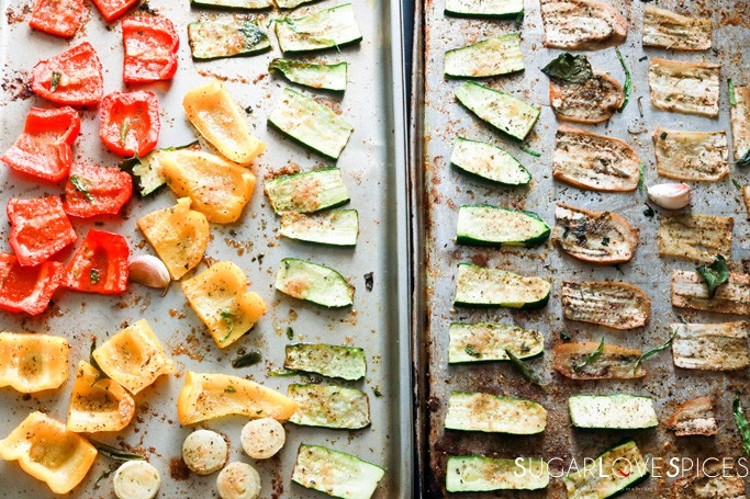 One Pan Vegetable and Shrimp-roasted veggies