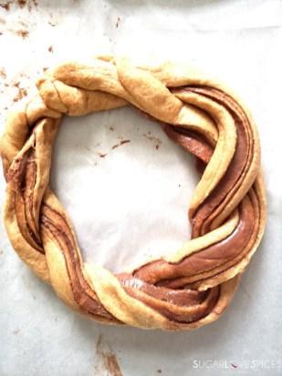 Chocolate Hazelnut Spelt Brioche Wreath-wreath