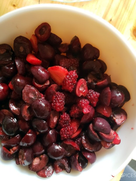 Homemade Cherry Berry Pie-cherries and berries in a bowl