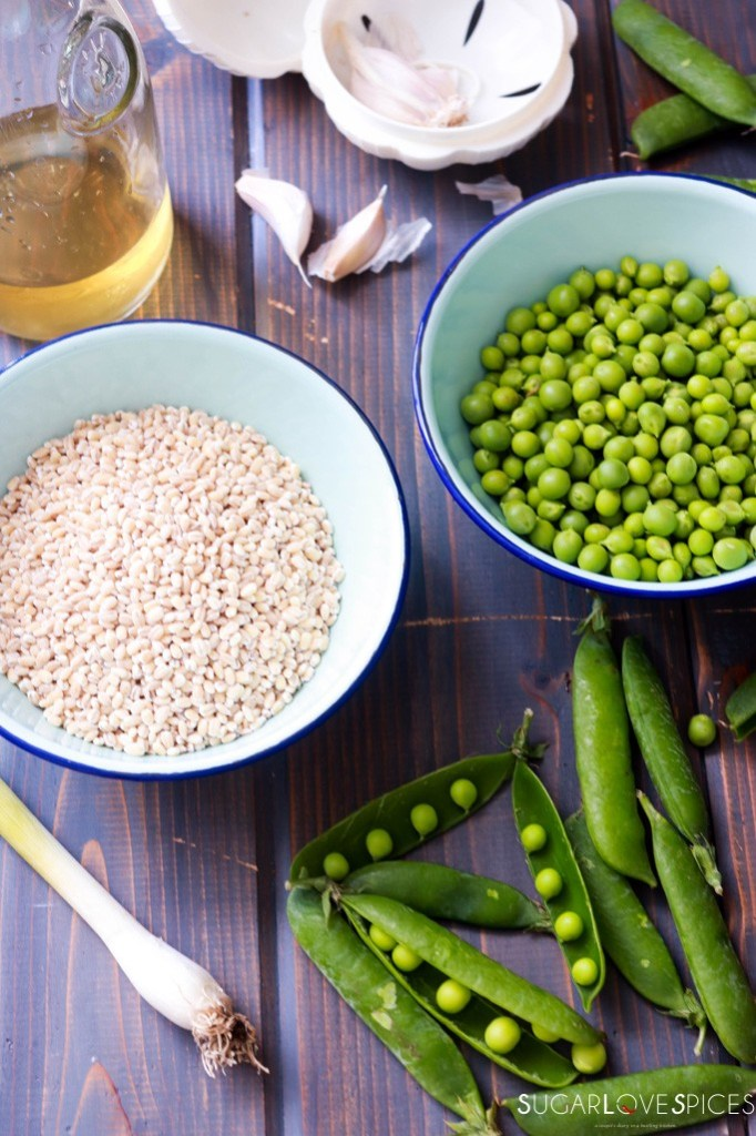 Pea Barley Risotto-ingredients on the board
