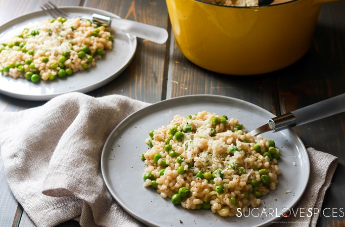Pea Barley Risotto-plated with pot in the background