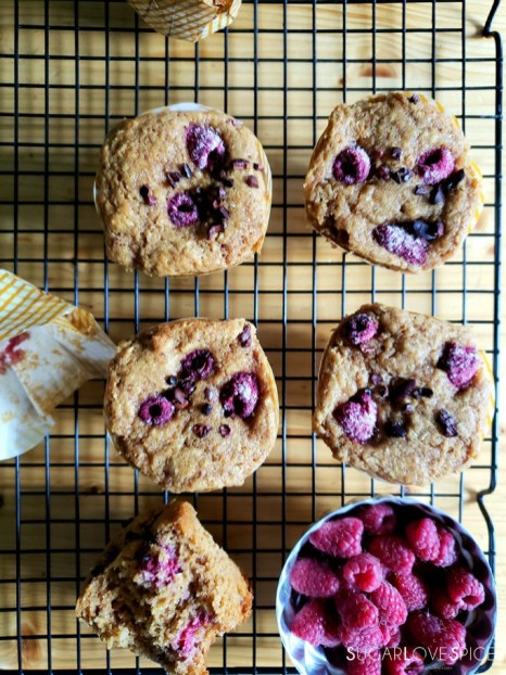 coconut raspberry spelt muffins-after baking