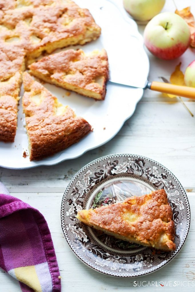 Torta di Mele (Apple Cake with Olive Oil)-slice on a plate