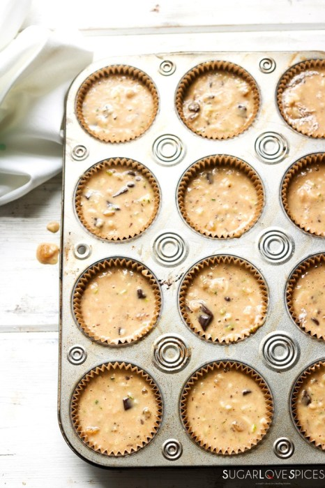 Zucchini Chocolate Raisin Spelt Muffins-batter in the pan