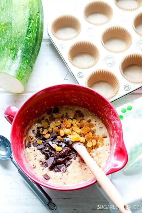 Zucchini Chocolate Raisin Spelt Muffins-batter ready