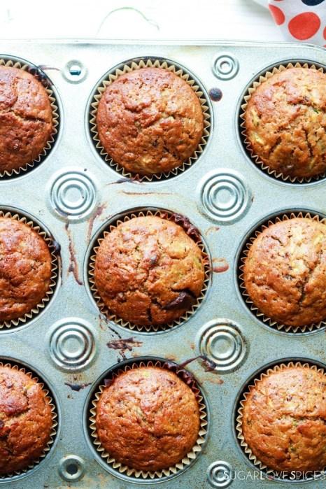 Zucchini Chocolate Raisin Spelt Muffins-in the pan