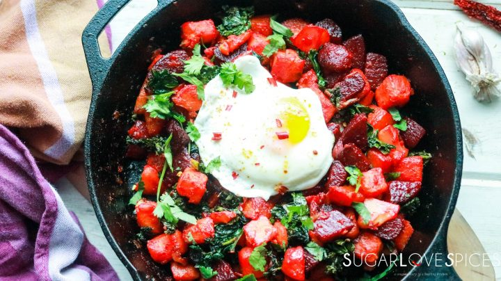sweet potato beet kale hash with fried egg-feature