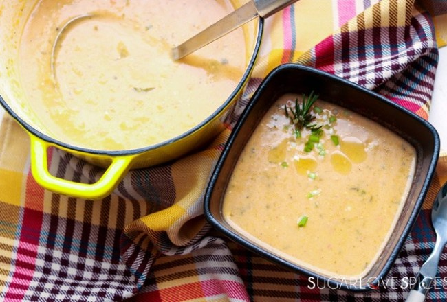 Cream of Kohlrabi and Potato Soup-pot and one bow on towell