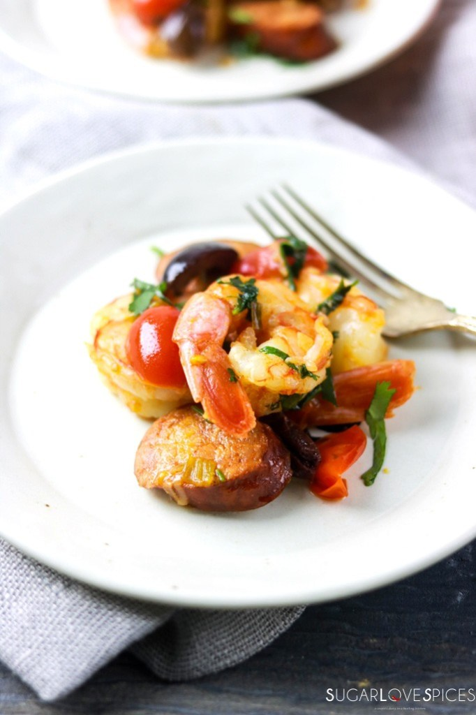 Homestyle Portuguese Shrimp and Chorizo-plate