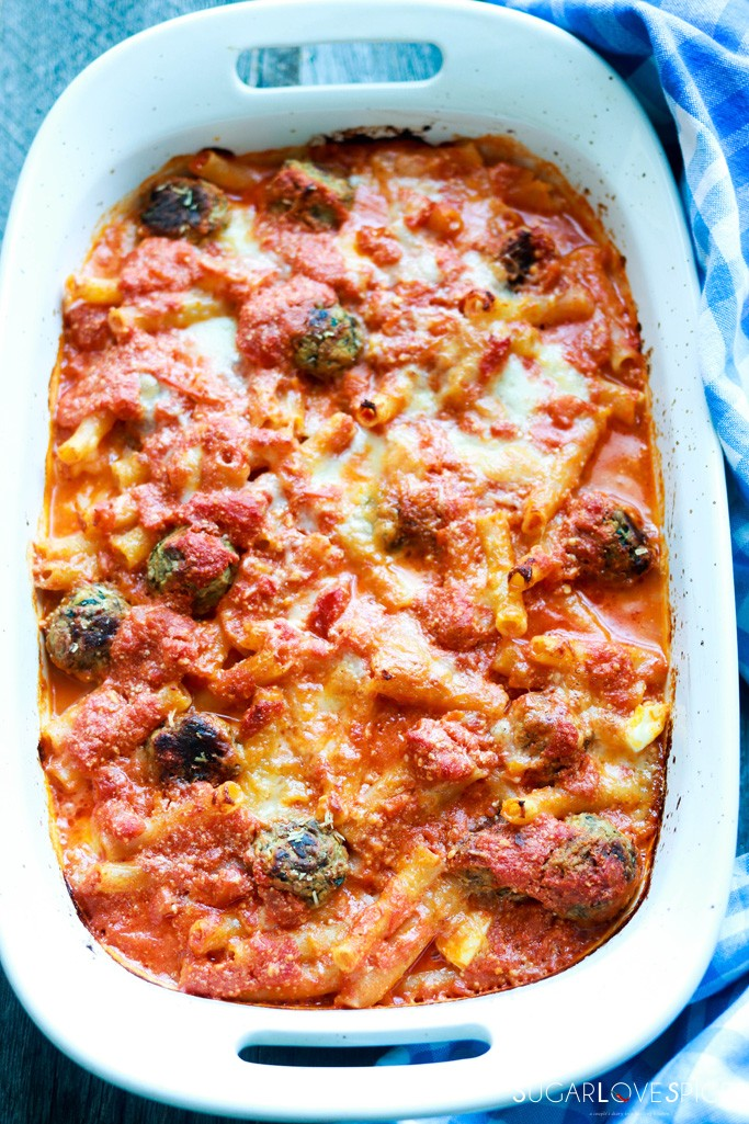 Italian Baked Ziti-in the pan after the oven