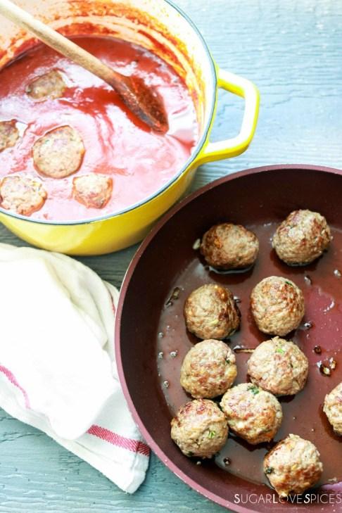 Homemade Spaghetti and Meatballs-browning meatballs