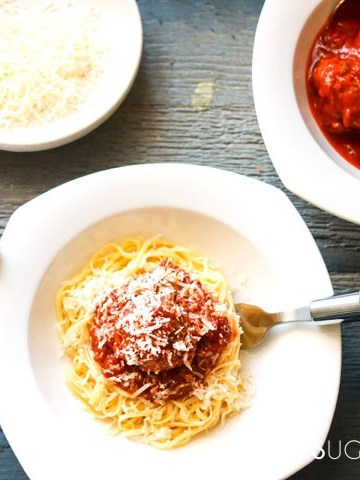 Homemade Spaghetti and Meatballs-on the plate