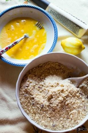 Hazelnut Sbrisolona Cake with Chocolate Spread-flour mixture and eggs