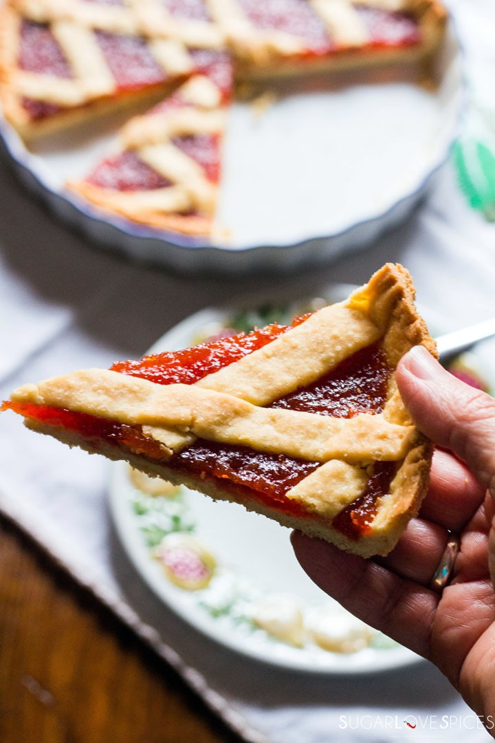 Quince jam tart-hand held