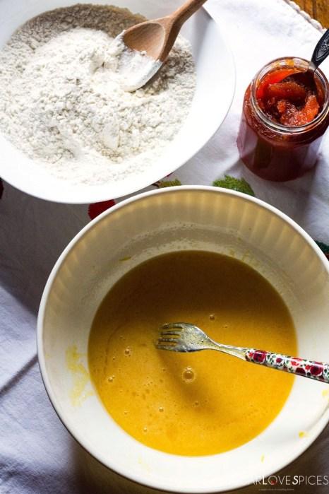 Quince jam tart-mixing eggs sugar