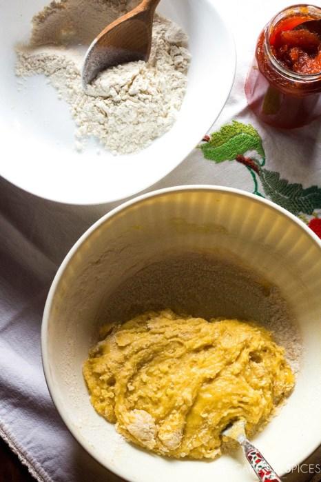 Quince jam tart-mixing
