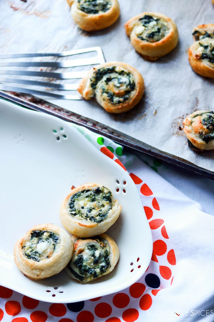 Spinach and Feta Pinwheels-on the pan and in the plate