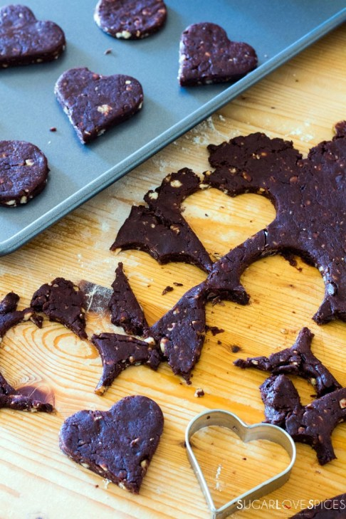 Olive oil spelt flour cookies with chocolate and hazelnuts-cutting shapes