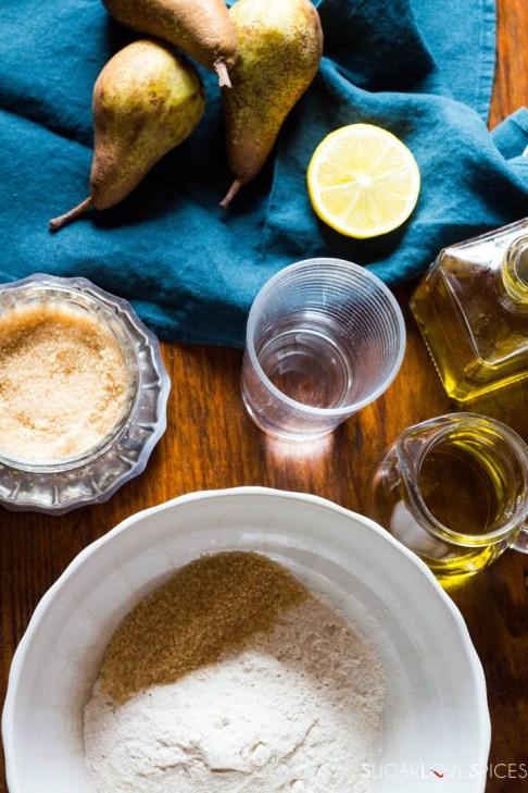 Rustic Pear & Hazelnut Vegan Galette-ingredients