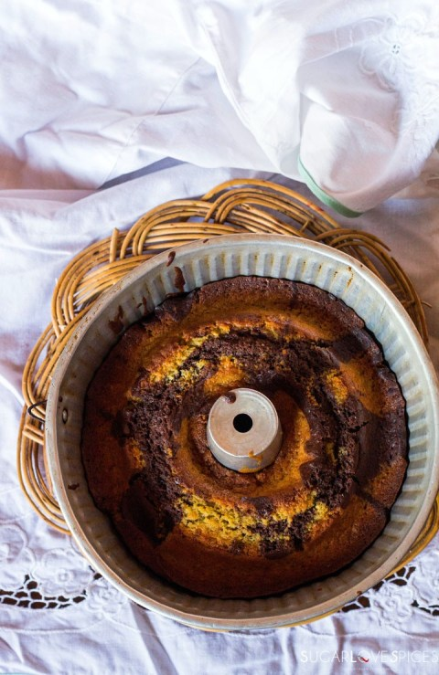 Delicious and Easy Yogurt Marble Cake-out of the oven