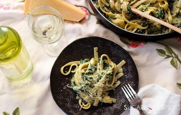 fettuccine alla greca-plate from top