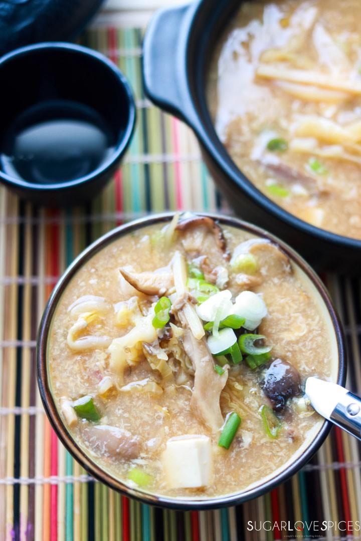 Hot and Sour Asian Soup-closeup bowl