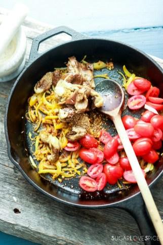 Baingan Bharta, Indian spiced Eggplant-adding spices