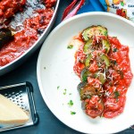 Italian Stuffed Zucchini in Tomato Sauce-feature