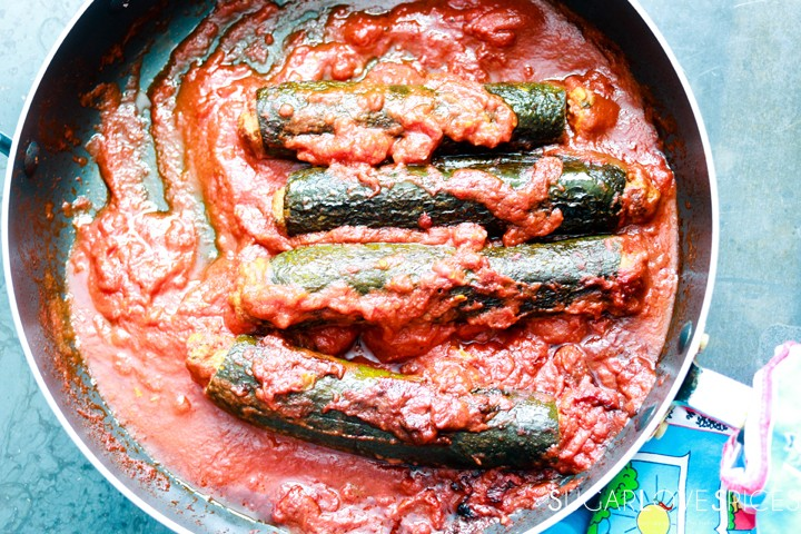 Italian Stuffed Zucchini in Tomato Sauce-in the pan