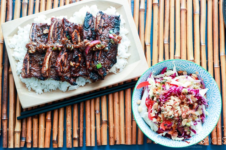 Korean-style Shortribs-ribs on rice and slaw