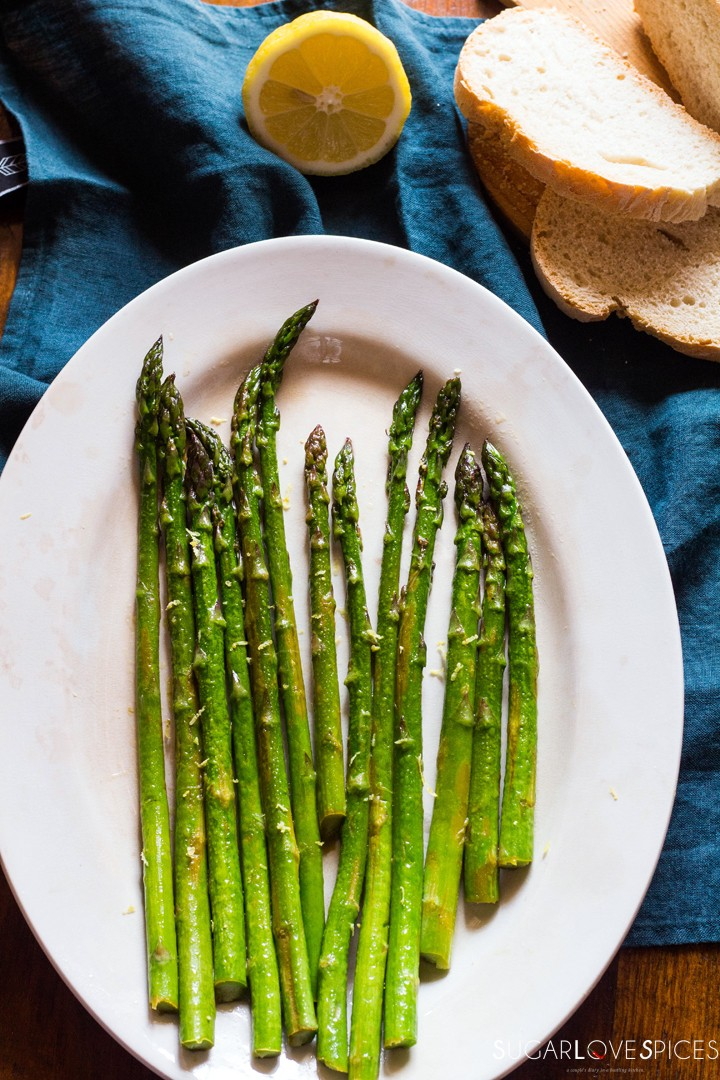 Simple Stove top Lemon Asparagus-in the plate