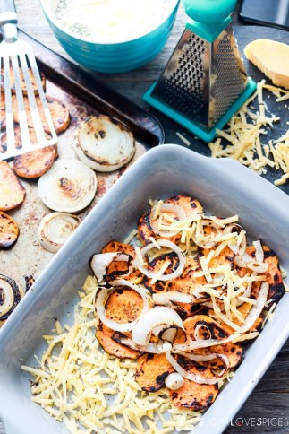 Sweet Potato Onion Gratin-in the pan-first layer