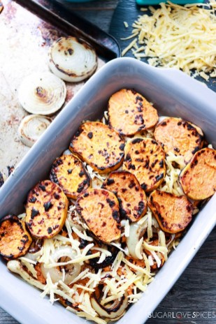 Sweet Potato Onion Gratin-in the pan-layers