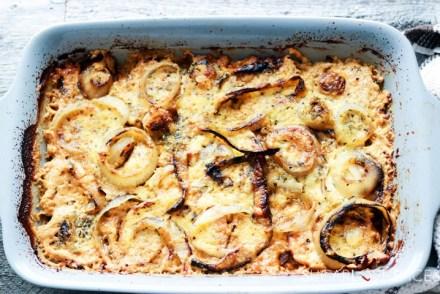 Sweet Potato Onion Gratin-in the pan-whole