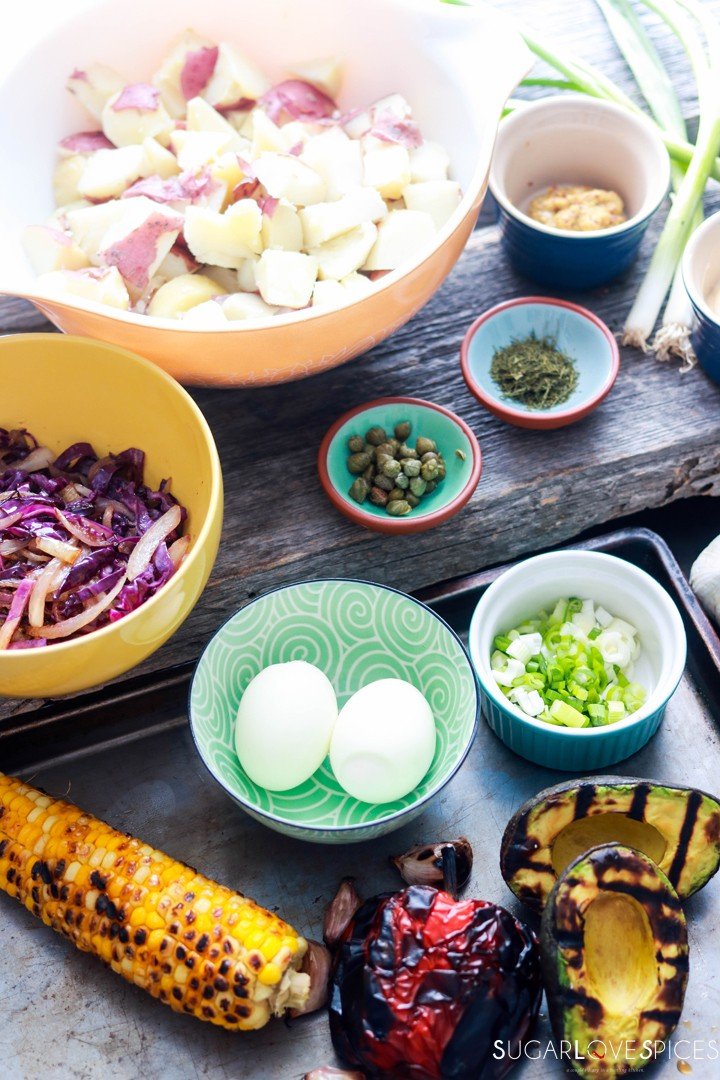 Potato Salad Deluxe-charred ingredients