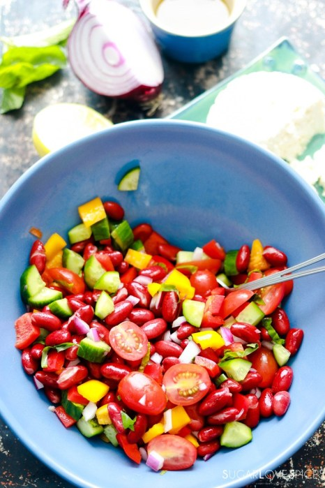 Red Kidney Bean Summer Salad with Feta-mixed in the bowl