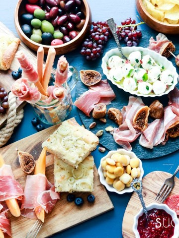 An Antipasto Story featuring Prosciutto-top view table