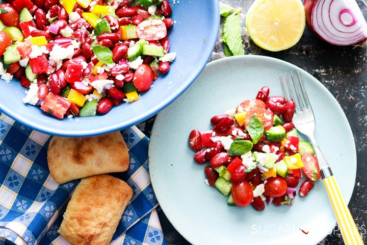 Red Kidney Bean Summer Salad with Feta-bowl and plate